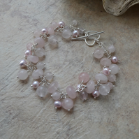 Sterling Silver Rose Quartz and Pearl Cluster Bracelet