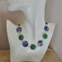 Abalone Shell and Aventurine Sterling Silver Collar Necklace