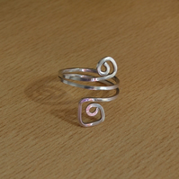 Abstract Spiral Sterling Silver Handmade Ring