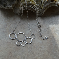 Modern Hammered Circles Statement Necklace with Sterling Silver