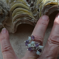 Sterling Silver Cluster Ring with Amazonite & Amethyst Stones