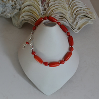 Red Coral Skinny Stacking Sterling Silver Bracelet