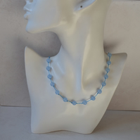 Sky Blue Agate Corded Necklace with Sterling Silver