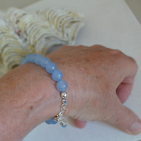 Sky Blue Stacking Bracelet with Sterling Silver