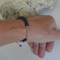 Skinny Stacking Bracelet with Lapis Lazuli and Sterling Silver