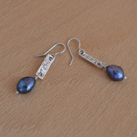Contemporary Sterling Silver Tag  Earrings with  Blue Pearls