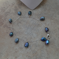 Sterling Silver Ankle Bracelet  with Petrol Blue Freshwater Pearls