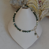 Stacking Skinny Bracelet with Seraphinite and Sterling Silver