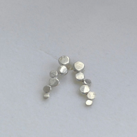 Contemporary Sterling Silver Circle Stick Earrings