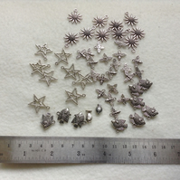 Destash  Selection of Silver Metal Charms for Jewellery Making