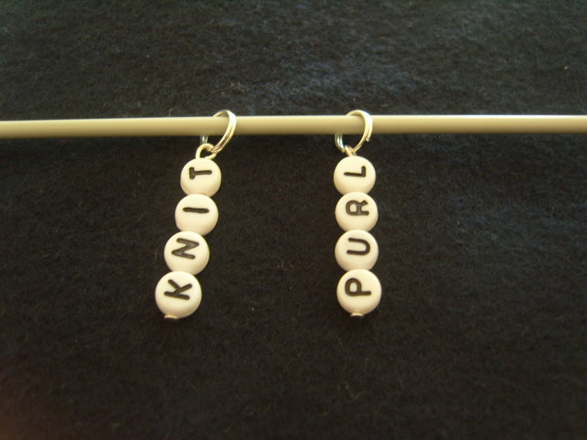 Handmade - Set of 2 Stitch Markers - KNIT and PURL - Knitting (2)