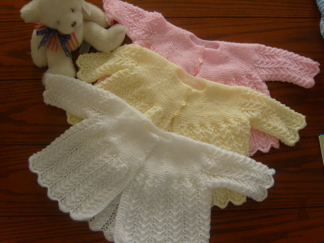 Hand Knitted 4ply - Lovely Baby Cardigan - Coat - Christening? - 0-6 Months