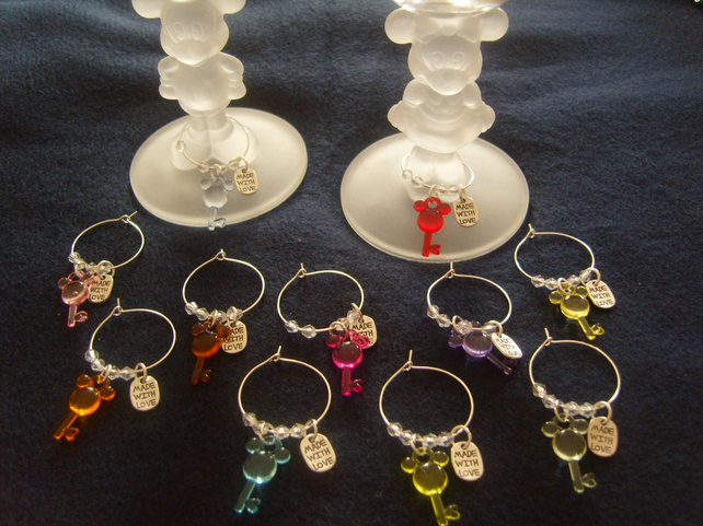 Mickey Mouse - Wine Glass Charms - Just For You Or Made With Love - Favours
