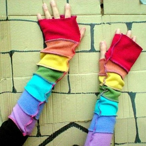Arm Warmers made from Recycled Sweaters RAINBOW BRIGHT