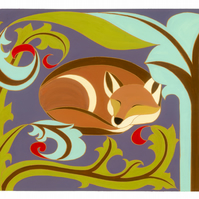 Sleeping fox, art nouveau, A3 giclée print