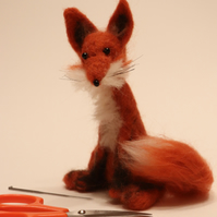 Seated fox, needle felt sculpture
