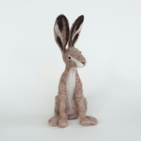 Herbie Hare, needle-felted animal sculpture