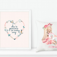 Girls nursery printable art - 'She is precious in every way'