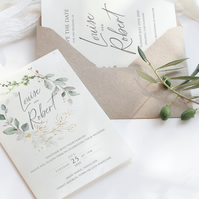 6 piece watercolour eucalyptus wedding stationery suite
