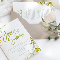 Leafy green wedding invite suite - DIGITAL ITEM