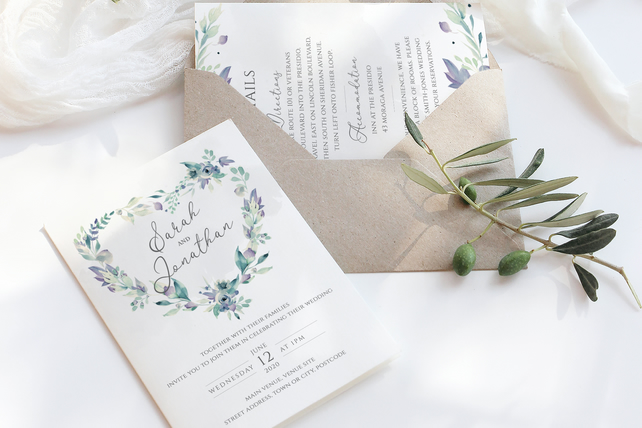 6 Piece Lavender Watercolour Wedding invite suite - DIGITAL DOWNLOAD