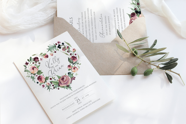 6 Piece watercolour winter wedding suite - DIGITAL DOWNLOAD