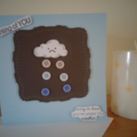 thinking of YOU..rain clouds with buttons...ref 468