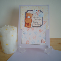 Hip Hip Hooray! it's your Birthday...with Teddy ...FREE POSTAGE ..ref 65