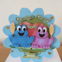 Happy Anniversary..Hoppy News..two frogs on lily-pad..Grandpa & Granny..ref 188