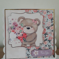 For You..bear with flowers..ref 203