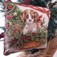 xmas pup in basket hanging fabric bauble
