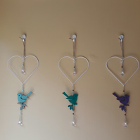 heart wire shape with purple bird