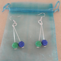 green blue lmitation pearl beads earrings