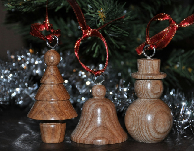 Handmade wood Christmas decorations