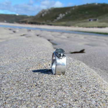 Sea glass and pewter ring