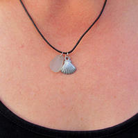 Clam shell & sea glass necklace