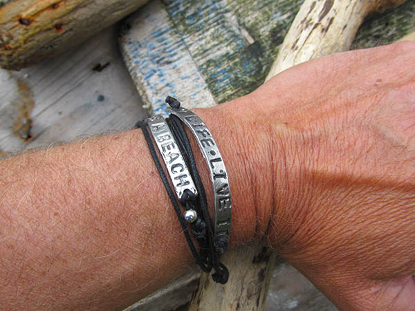 One life pewter & leather bracelet