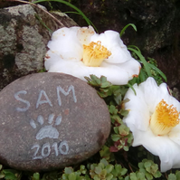 Personalised pet memorial stone.