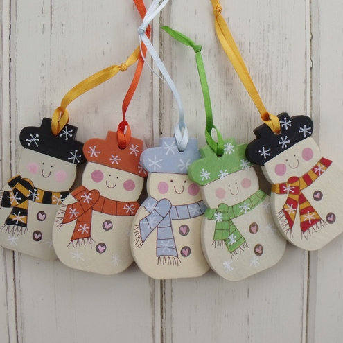 Christmas Tree Decorations Hand Painted Snowmen set x 5