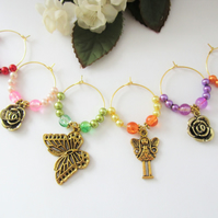 Set of 6 handmade VINTAGE GARDEN gold plated wine glass charms 652