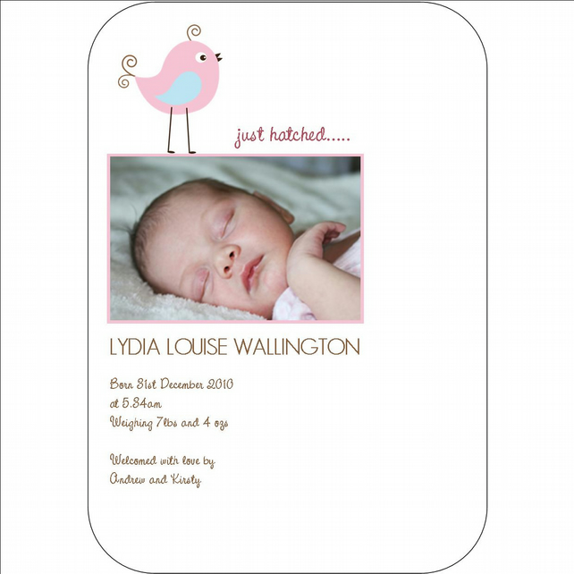 UNIQUE & PERSONALISED PRINTABLE BABY BIRTH ANNOUNCEMENT POSTCARD