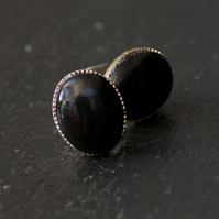 Black Oval Handcrafted Polymer Clay Bead Silver Plated Stud Earring. VickiCockcroftJewellery
