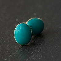 Green Oval Handcrafted Polymer Clay Bead Silver Plated Stud Earring. VickiCockcroftJewellery