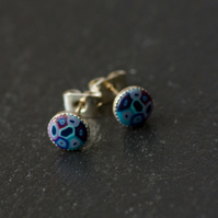 Mixed Blue Handcrafted Polymer Clay Bead Silver Plated Stud Earrings.