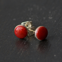 Red Sparkly Stud Earrings