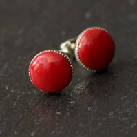 Red Handcrafted Polymer Clay Bead Silver Plated Stud Earring
