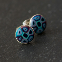 Blue Mixed Handcrafted Polymer Clay Bead Silver Plated Stud Earring