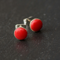 Red Bead Stud Earrings