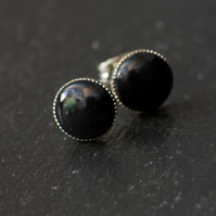 Black Plain Handcrafted Polymer Clay Bead Silver Plated Stud Earring