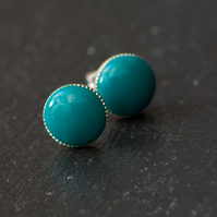 Green Plain Handcrafted Polymer Clay Bead Silver Plated Stud Earring